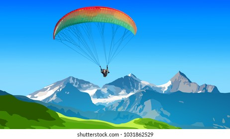 Paraplane extreme sports in high mountains
