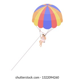 Parasailing icon. Isometric of parasailing vector icon for web design isolated on white background