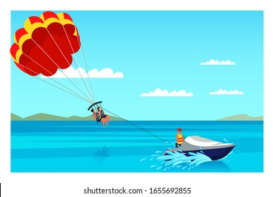 Parasailing illustration. Unforgettable experience. Sea resort and beach activities vector layout. Active and adventure holiday idea. Summer vacation