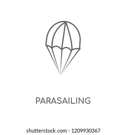 Parasailing linear icon. Parasailing concept stroke symbol design. Thin graphic elements vector illustration, outline pattern on a white background, eps 10.