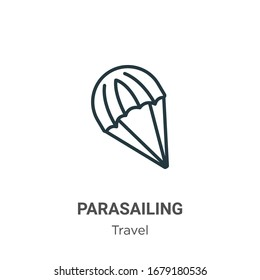 Parasailing outline vector icon. Thin line black parasailing icon, flat vector simple element illustration from editable travel concept isolated stroke on white background