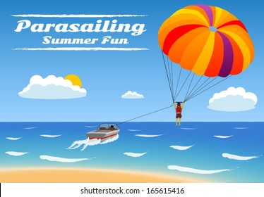 Parasailing - summer kiting activity,  person is towed behind a boat