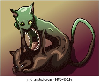 Parasite horror creature leaving the dead body of a cat. Green horror kitty resurrection, evolving, natural circle of the soul leaving the body. Feline zombie reincarnated as mutant creature.