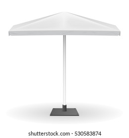 Parasol for promo isolated on white background. Mock up of square umbrella, vector illustration