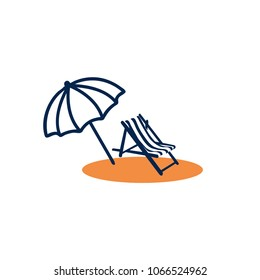 Parasol, summer umbrella and sunbed vector icon