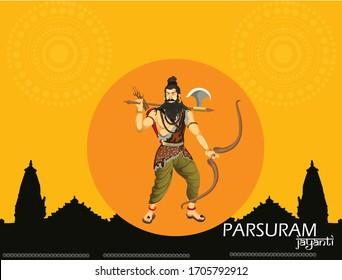 Parasuram Jayanti is celebrated to festival for Hindu celebration background with in hindi font bhagwan parshuram.