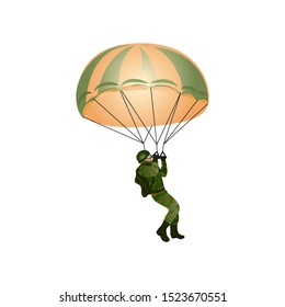 A paratrooper in a military uniform flies with a parachute. Vector illustration in a flat cartoon style.