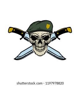 Paratrooper skull with crossed knives. Design elements for logo, label, emblem, sign, menu. Vector illustration