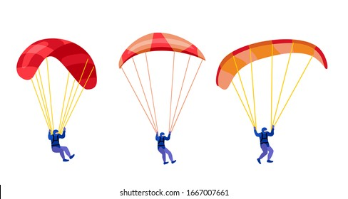 Paratroopers descending with parachutes set. Paraglide and parachute jumping characters on white, paragliders and parachutists vector illustration, skydiver hobby and sport activities