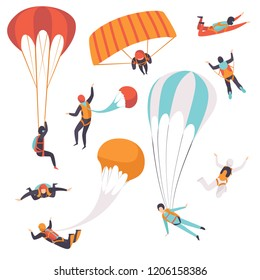 Paratroopers descending with parachutes set, skydiving, parachuting extreme sport vector Illustration on a white background