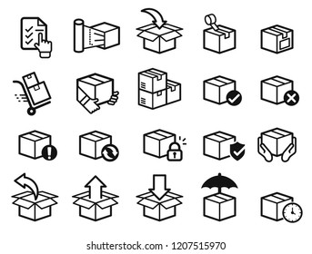 Parcel care standard step icon of delivery service. Protection of goods, insurance and return for product.