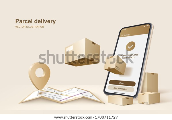 Parcel delivery. Concept for fast delivery service. Vector illustration
