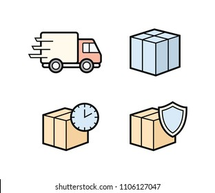 Parcel delivery icons. Fast delivery and quality service transportation. Shipping vector icons for logistic company.