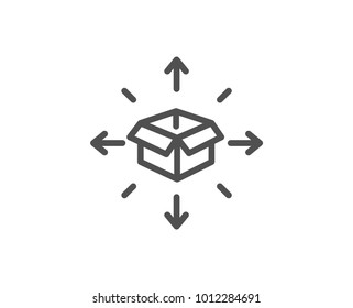 Parcel delivery line icon. Logistics service sign. Tracking symbol. Quality design element. Editable stroke. Vector