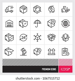 Parcel delivery. Shipping and Logistic line vector icons set. Delivery Related Vector Line Icons.
