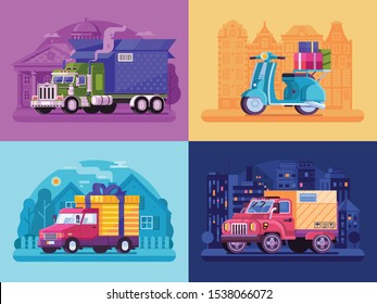 Parcel delivery vehicle scenes in flat design. City transportation and auto shipping service van, truck, cargo lorry and courier scooter with cupboards, gifts and boxes. Logistic services concepts.