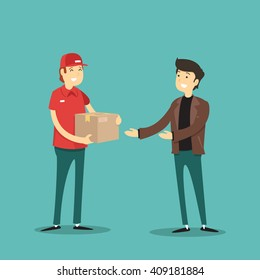 parcel deliveryman hands man. Vector illustration.
