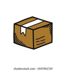 parcel doodle icon, vector illustration