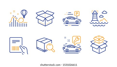 Parcel invoice, Car parking and Roller coaster line icons set. Car service, Search package and Lighthouse signs. Open box, Packing boxes symbols. Delivery document, Transport place. Vector
