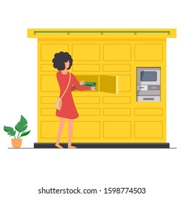 a parcel locker with an open door and a customer, woman removing an Amazon package from the locker. vector