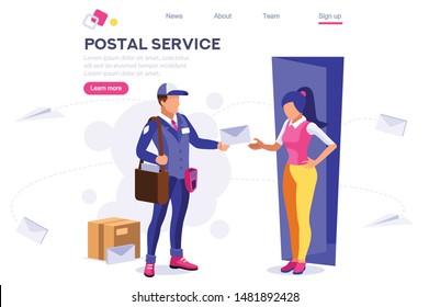 Parcel Mail Transportation, Post Address Concept. Correspondence Postage Communication. Delivery Office Postcard Package Sending, Deliver Service. Profession Cartoon Flat Vector Illustration Banner.