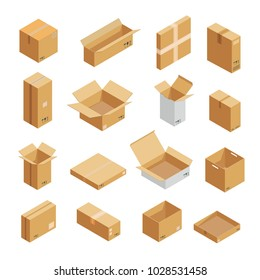 Parcel packaging box icons set. Isometric illustration of 16 parcel packaging box vector icons for web