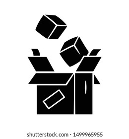 Parcel packing glyph icon. Order packaging. Cardboard box with goods. Postal service. Parcel delivery crate. Storage carton boxes. Silhouette symbol. Negative space. Vector isolated illustration
