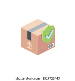 Parcel Security. Vector 3d isometric, color web icon, new flat style. Creative illustration design, idea for infographics.