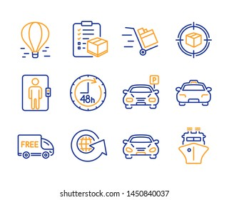 Parcel tracking, Elevator and Parcel checklist icons simple set. Car, 48 hours and Taxi signs. Parking, World globe and Push cart symbols. Air balloon, Free delivery and Ship. Vector
