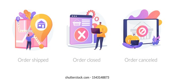 Parcel tracking system, digital shopping, online purchase distribution icons set. Order shipped, order closed, order canceled metaphors. Vector isolated concept metaphor illustrations