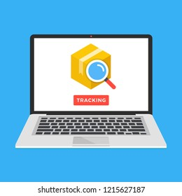 Parcel tracking website on laptop screen. Online package tracking. Modern concept. Flat design vector illustration