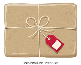 A parcel wrapped up with a rough brown paper, tied up  with twine  with red label