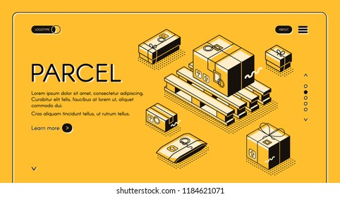 Parcels delivery and post mail logistics vector illustration in thin line design. Carton boxes packages with postage stamps on warehouse pallets on halftone yellow web banner background