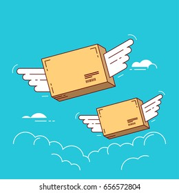 Parcels with wings flying in sky. Concept for delivery service. Line flat design colorful vector illustration