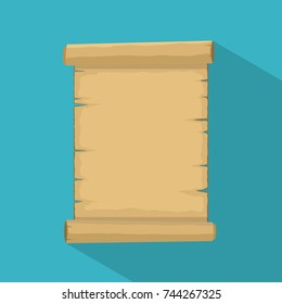 Parchment. Blank old scroll icon papyrus paper cartoon isolated on white background with shadow. Blank retro papyrus sheet in flat style, illustration of ancient parchment. Vector illustration