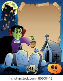 Parchment with Halloween topic 3 - vector illustration.