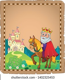 Parchment with king on horse theme 3 - eps10 vector illustration.