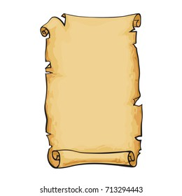 Parchment, old paper scroll. Hand drawn vector illustration.