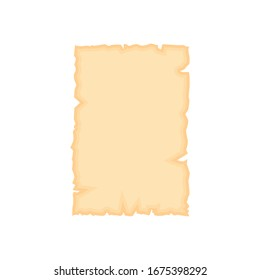 Parchment old paper sheet vector illustration isolated on white background.