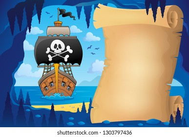 Parchment in pirate cave image 7 - eps10 vector illustration.