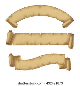 Parchment ribbons set. Vintage banners. Vector illustration