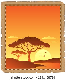 Parchment with savannah sunset scenery - eps10 vector illustration.