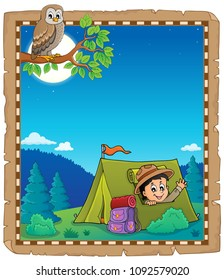 Parchment with scout in tent theme 1 - eps10 vector illustration.