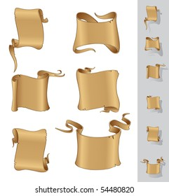 Parchment scrolls vector banners
