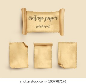 Parchment. Vintage old paper set. Vector Illustration