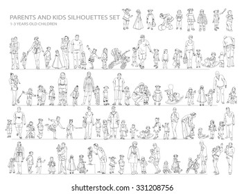 Parent and child collection of silhouettes. Sketch collection