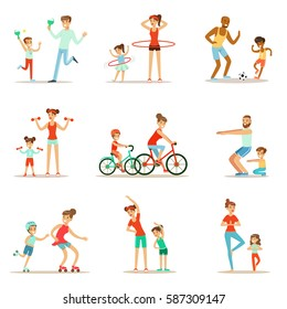 Parent And Child Doing Sportive Exercises And Sport Training Together Having Fun Set Of Scenes