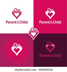 Parent & Child - Vector Illustration. Playful logo featuring a parent holding his/her child who, together, are also forming a heart shape.