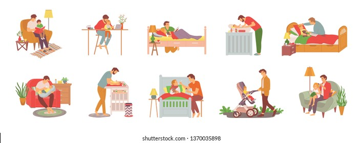 Parent with child vector, man reading book to daughter before sleep, walking kid in perambulator, feeding newborn baby and caring for offsprings set, family concept