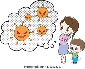 ウイルスに悩む親子